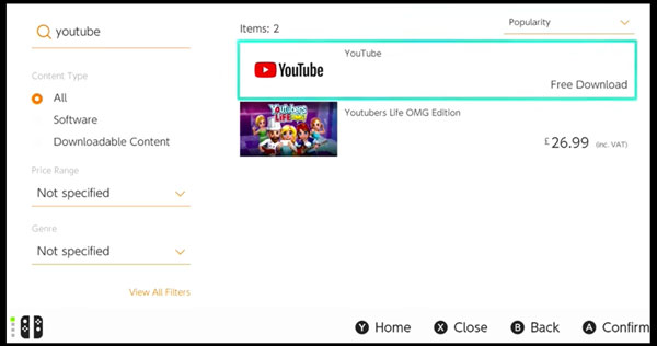 Nintendo Switch eShop search results for YouTube